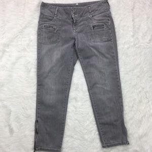 MICHAEL KORS gunmetal gray ankle jeans